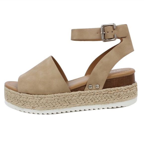 6cfd766bbb85 Soda Topic Sandals Flatform Sz 9 Espadrille Taupe.  M 5b2ae3a49539f7186bf935eb